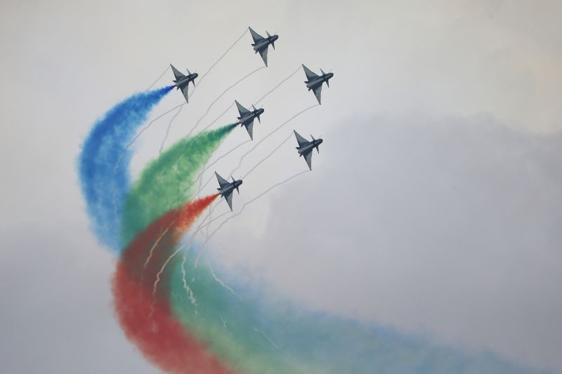 An aerial display of J-10 fighter jets of China's People's Liberation.