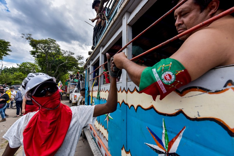 Indigenous Minga leave the city of Cali, Colombia