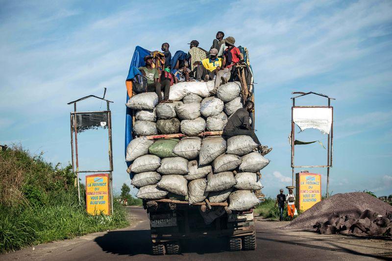 Truck at a roadblock in Democratic Republic of the Congo