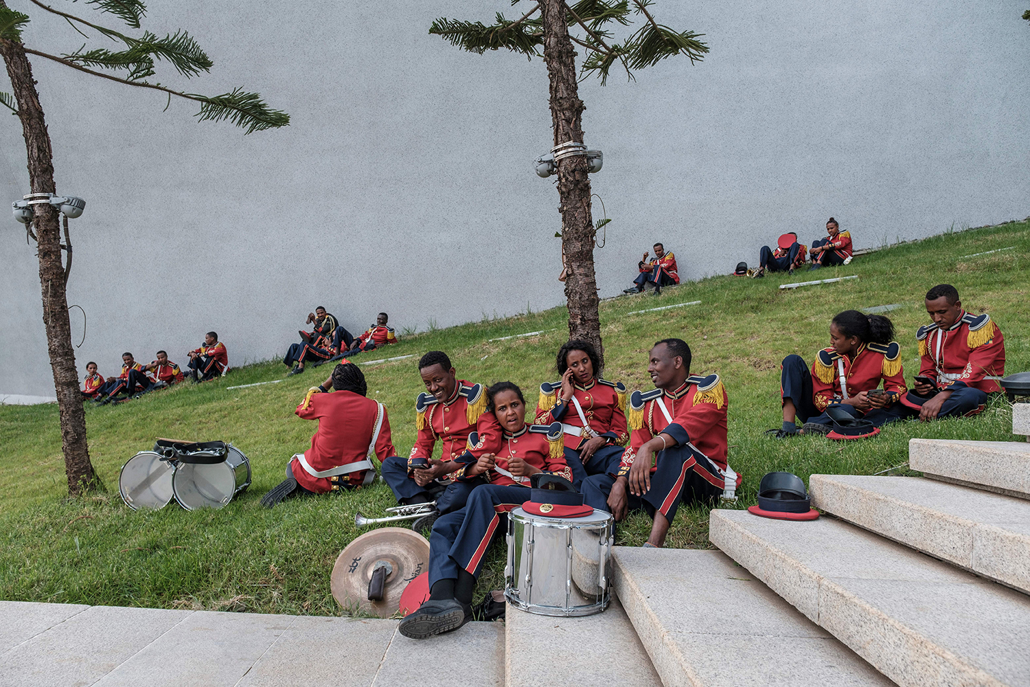 Members of Ethiopia brass band rest