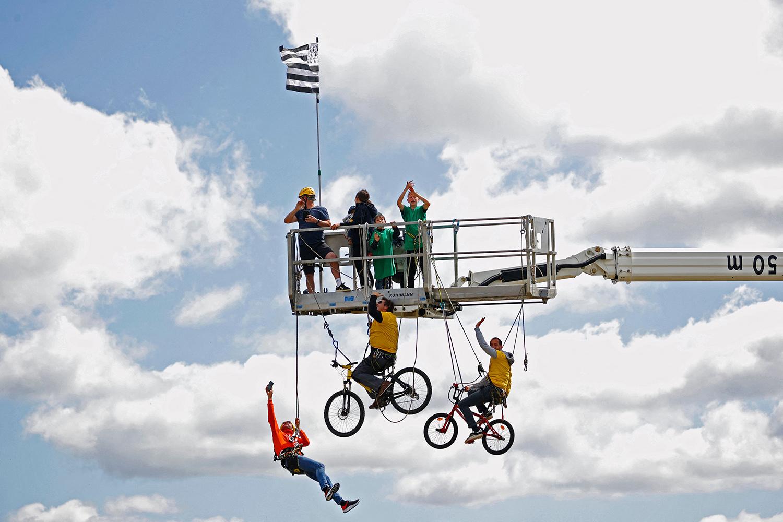 Spectators watch Tour de France