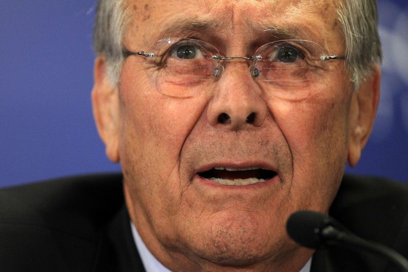 Former U.S. Defense Secretary Donald Rumsfeld speaks during a discussion at the Hudson Institute in Washington.