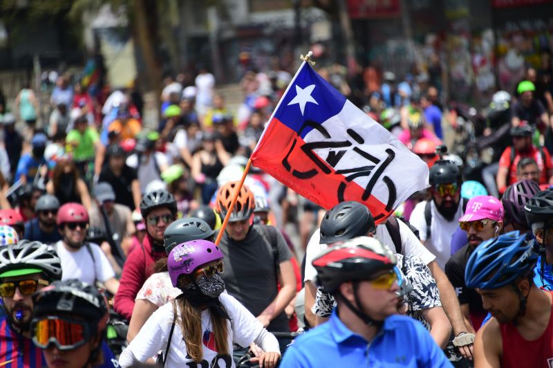 Chilean cyclists participate in a protest against Sebastian Piñera's government in Santiago on Nov. 24, 2019.
