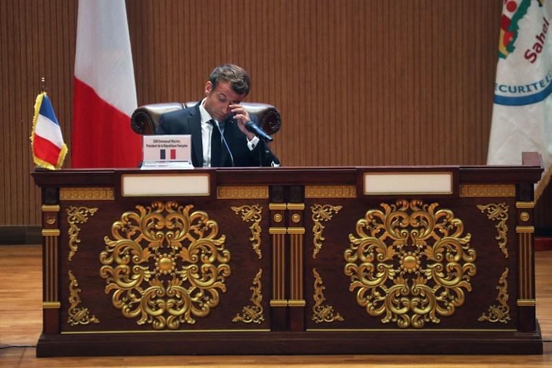 French President Emmanuel Macron at a G5 Sahel summit.