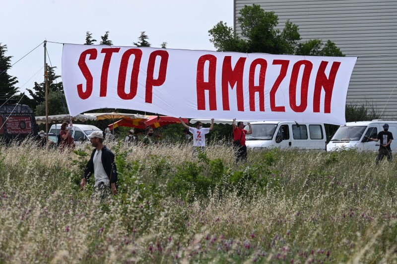 Anti-Amazon activists gather for a rally in Fournès, France.