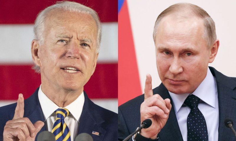 U.S. President Joe Biden and Russian President Vladimir Putin speak.