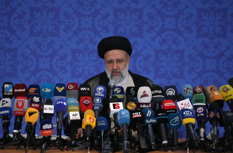 Iran's President-elect Ebrahim Raisi addresses his first press conference in Tehran on June 21, 2021.