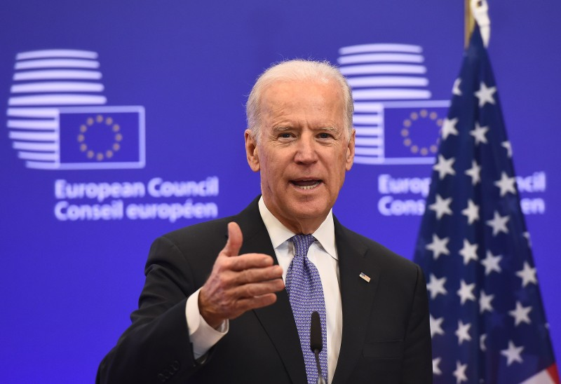 Joe Biden speaks during a meeting with European Union President Donald Tusk on February 6, 2015 at the EU Headquarters in Brussels.