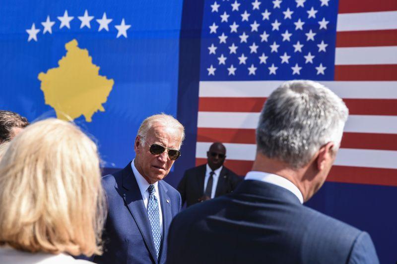 Joe Biden arrives for a ceremony near the village of Sojevo, Kosovo on August 17, 2016.