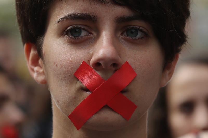 Students hold a silent protest against the violence that marred yesterday's referendum vote outside the University on Oct. 2, 2017 in Barcelona, Spain.
