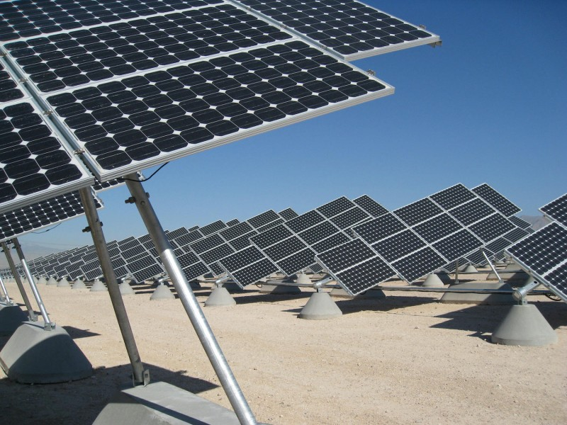At Nellis Air Force Base in Nevada on August 1, 2008, SunPower Corporation has built North America's largest solar farm, where over 72,000 solar panels now supply upwards of 14 megawatts of clean electricity to meet about 25 percent of the base's needs and save a million dollars annually.