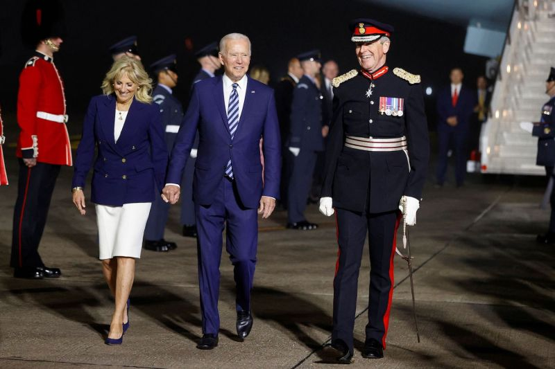 U.S. President Joe Biden and First Lady Jill Biden arrive at Cornwall Airport in Cornwall, England, on June 9.