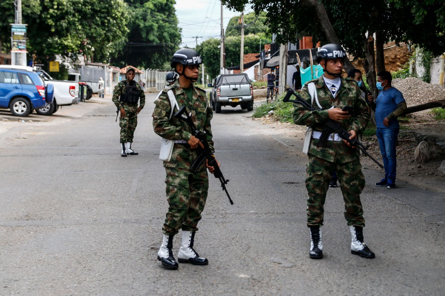 Soldiers stand guard near a military unit in Cucuta, Colombia, on the border with Venezuela, on June 15.