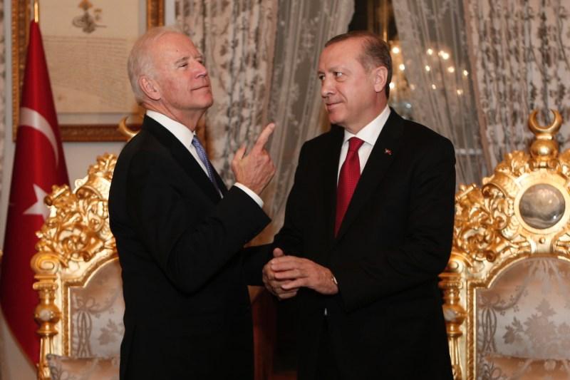 Then-U.S. Vice President Joe Biden gestures at a meeting with Turkish President Recep Tayyip Erdogan at Yildiz Palace in Istanbul on Jan. 23, 2016.