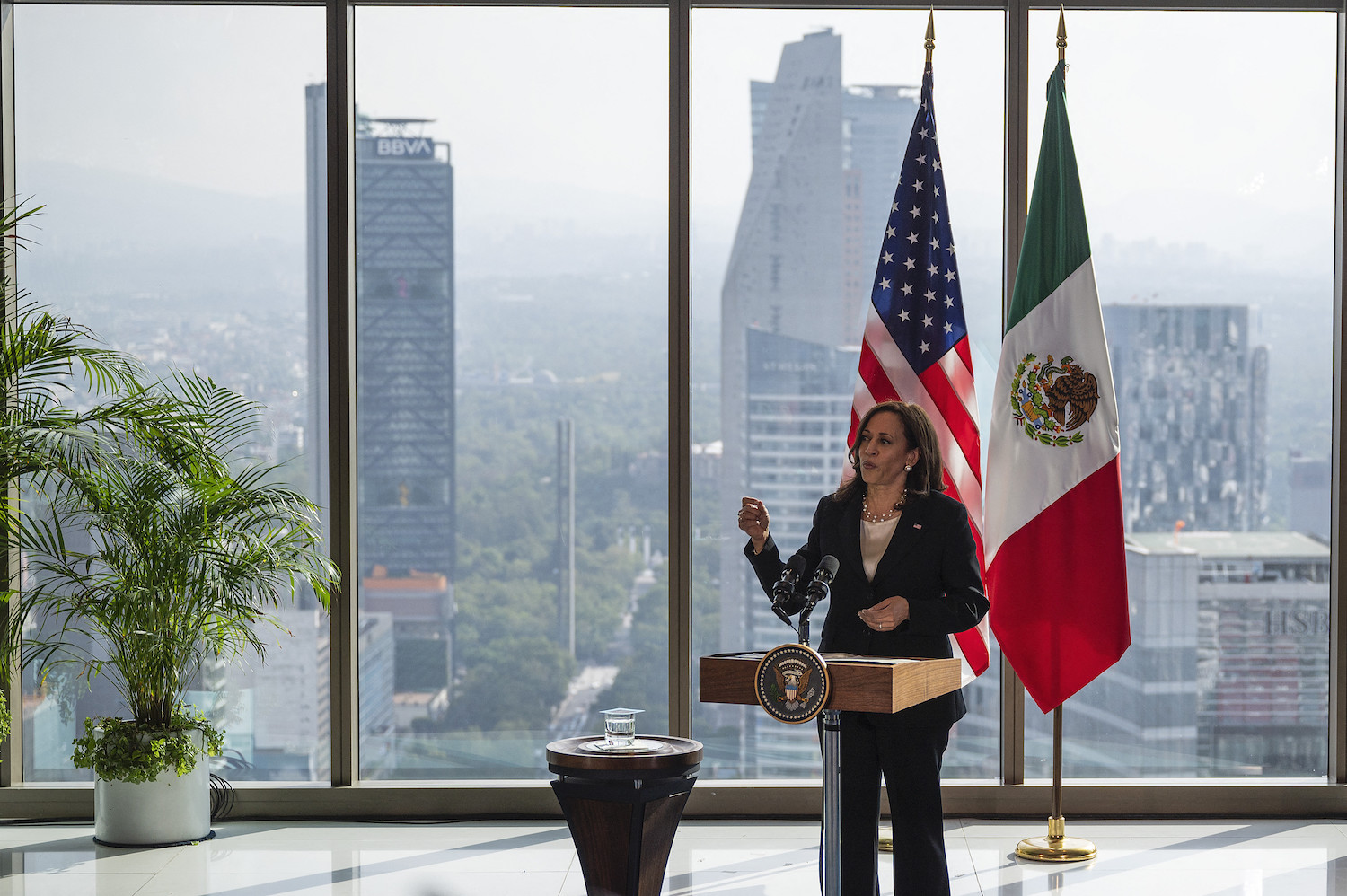 U.S. Vice President Kamala Harris speaks during a press conference at the Sofitel Mexico City Reforma in Mexico City on June 8.