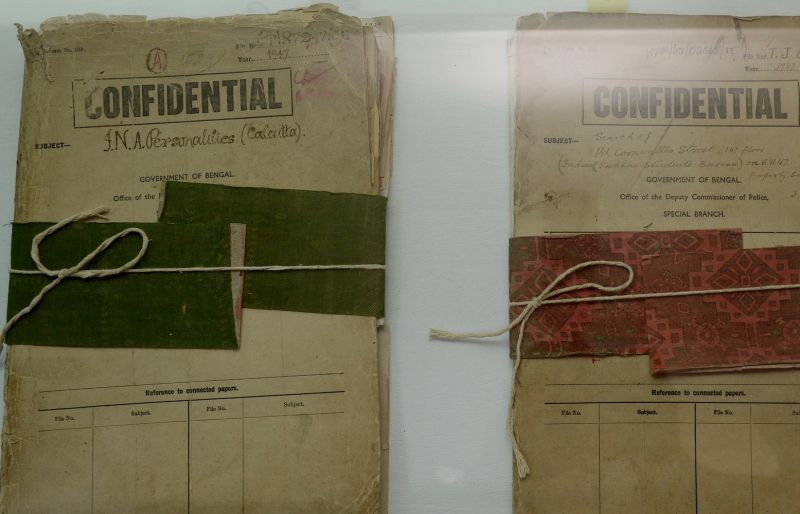 Files relating to Indian freedom fighter Subhas Chandra Bose are displayed at the Police Museum in Kolkata, India, on Sept. 18, 2015.