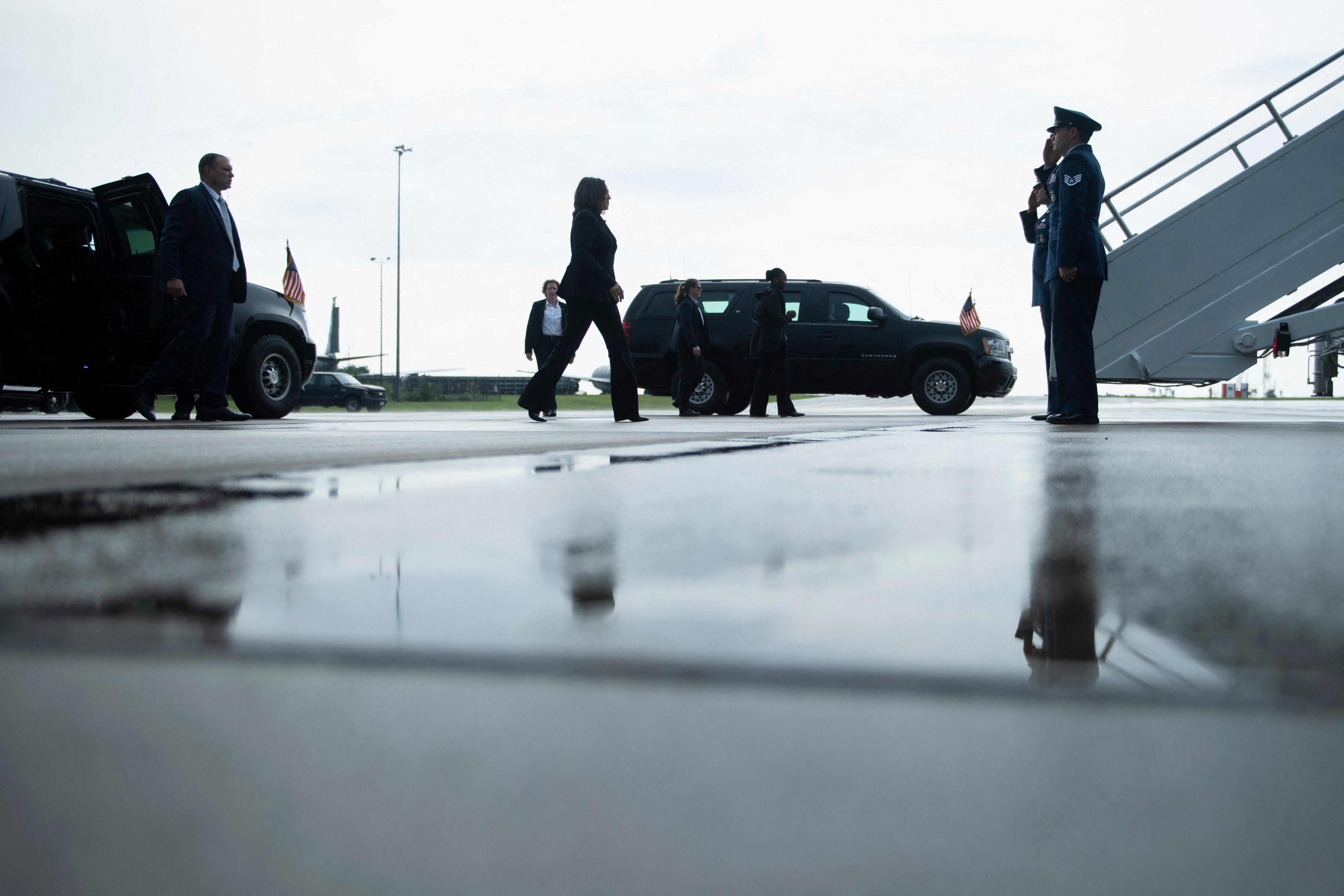U.S. Vice President Kamala Harris walks to Air Force Two at Pittsburgh International Airport in Pittsburgh, Pennsylvania on June 21.