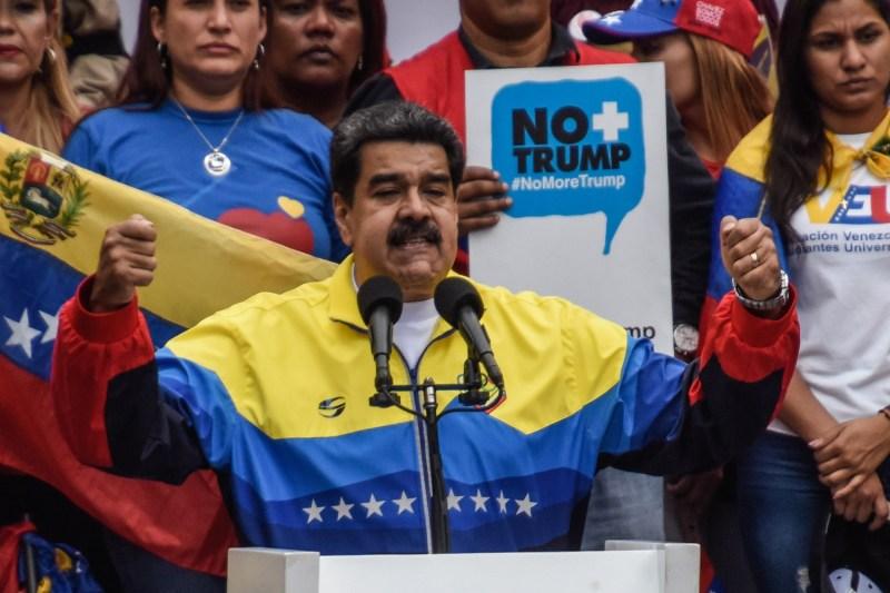 Venezuelan President Nicolás Maduro gestures at an anti-Trump demonstration.