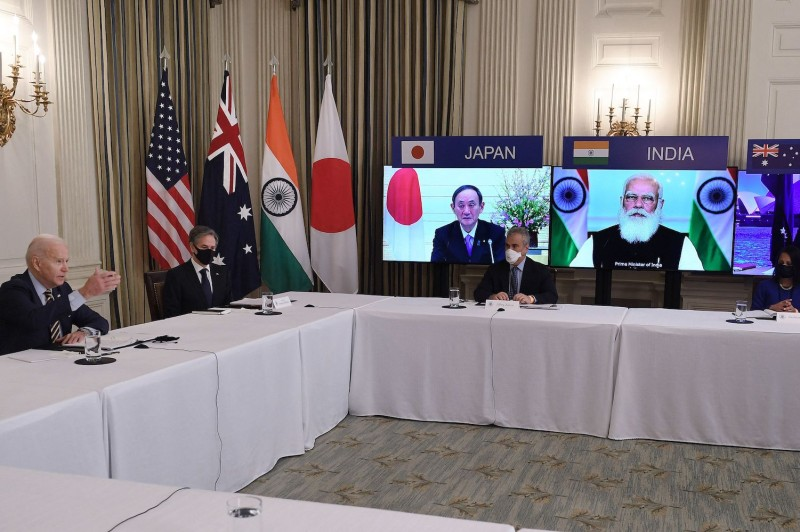 U.S. President Joe Biden, with U.S. Secretary of State Antony Blinken, meets virtually with members of the Quadrilateral Security Dialogue—Australia, India, and Japan—in the State Dining Room of the White House in Washington on March 12.