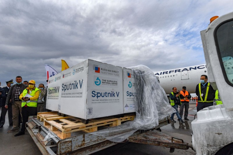 A shipment of Russia's Sputnik V COVID-19 vaccines arrives at the Tunis-Carthage International Airport in Tunis, Tunisia, on March 9.
