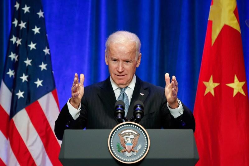 Then-U.S. Vice President Joe Biden speaks at a business leaders breakfast at the St. Regis Beijing hotel in Beijing on Dec. 5, 2013.