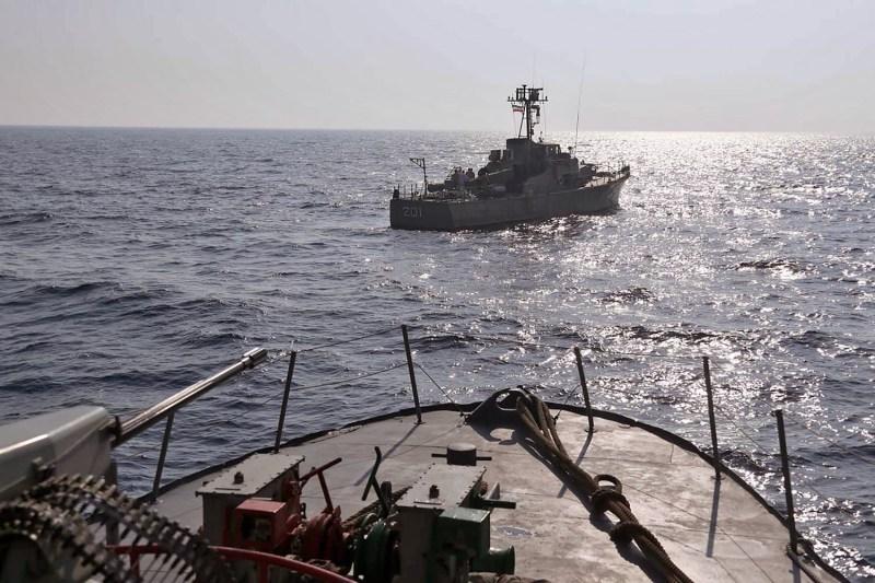 An Iranian warship nears the Strait of Hormuz.