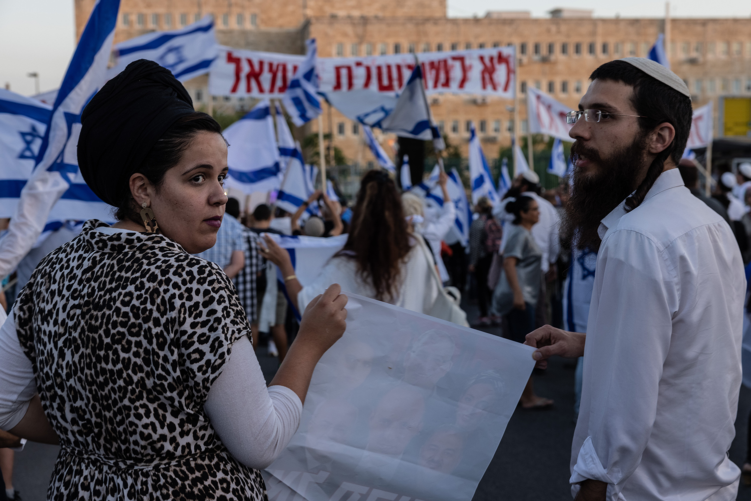 Right-wing Israelis protest the formation of the new Israeli governmen