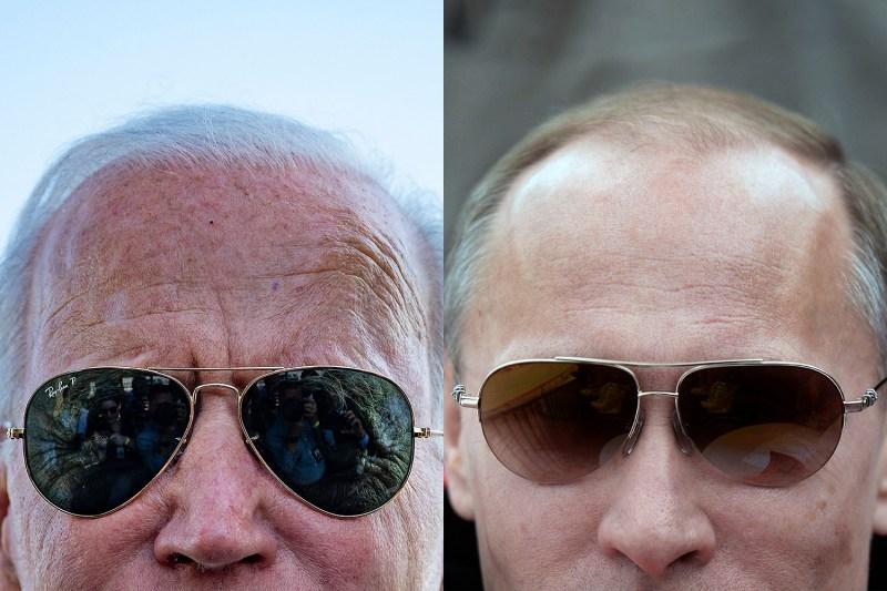 Joe Biden and Vladimir Putin wearing sunglasses