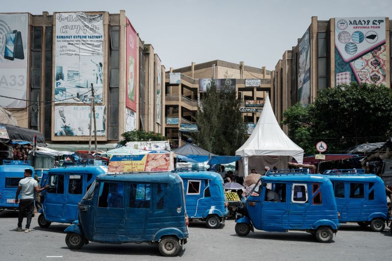 Autorickshaws wait for customers next to the downtown market in Mekele, the capital of Ethiopia's Tigray region, on June 25.