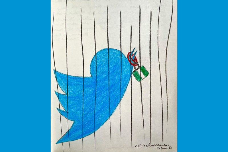 An illustration representing Twitter's ban in Nigeria by Victor Ehikhamenor
