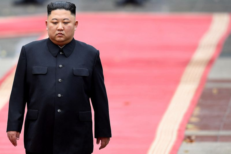North Korean leader Kim Jong Un attends a welcoming ceremony.
