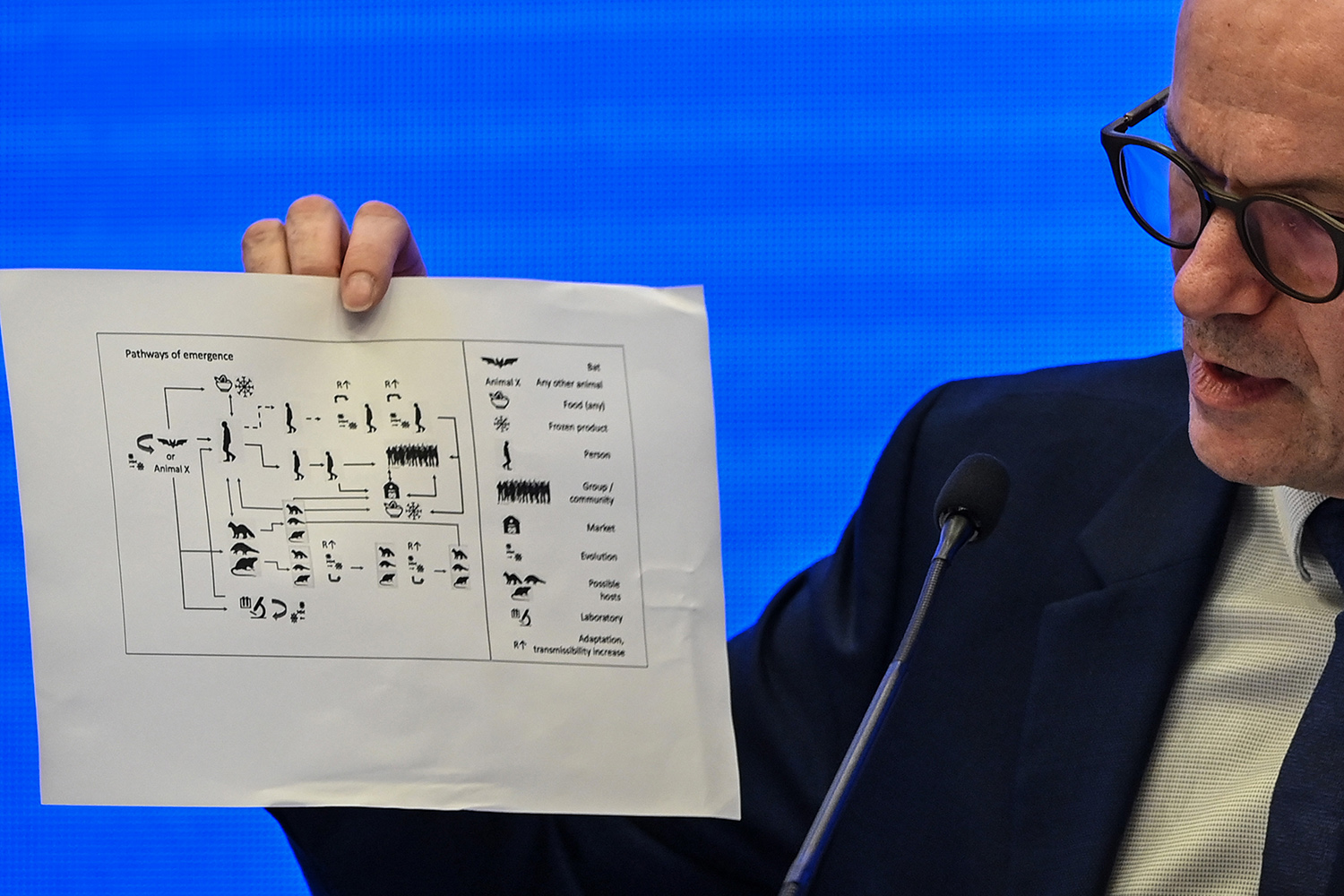 """Ben Embarek shares possible """"pathways of emergence"""" at a press conference in Wuhan, China, on Feb. 9."""