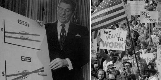 Ronald Reagan with economics chart