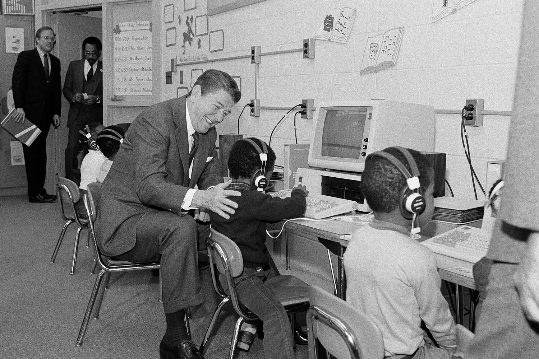 Ronald Reagan in a classroom