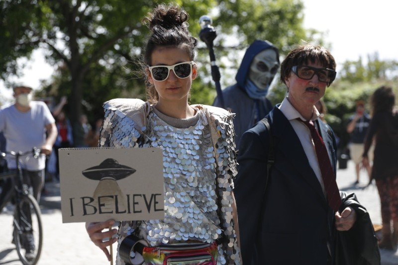 Protesters at a demonstration against conspiracy theorists in Berlin on May 30, 2020.