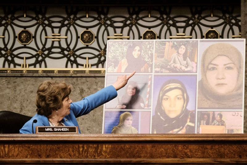 U.S. Sen. Jeanne Shaheen speaks about seven women from Afghanistan who were assassinated for their efforts to improve the lives of Afghans.