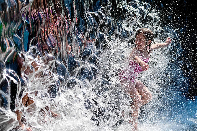 Girl in fountain in Washington, D.C.