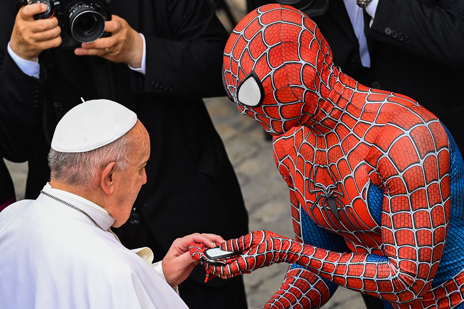 Pope Francis and Spider-Man meet
