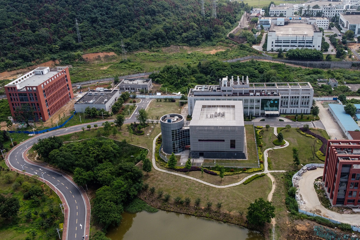 An aerial view of the Wuhan Institute of Virology in Wuhan, China, on May 27, 2020.