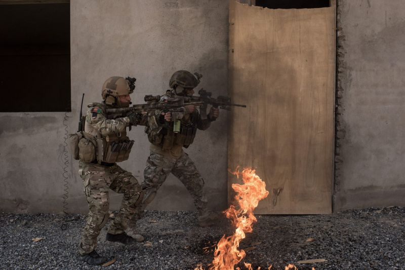 Members of Afghanistan's Crisis Response Unit 222, an Afghan special police unit, participate in a training slowed down for the media in Kabul on Sept. 7, 2017.
