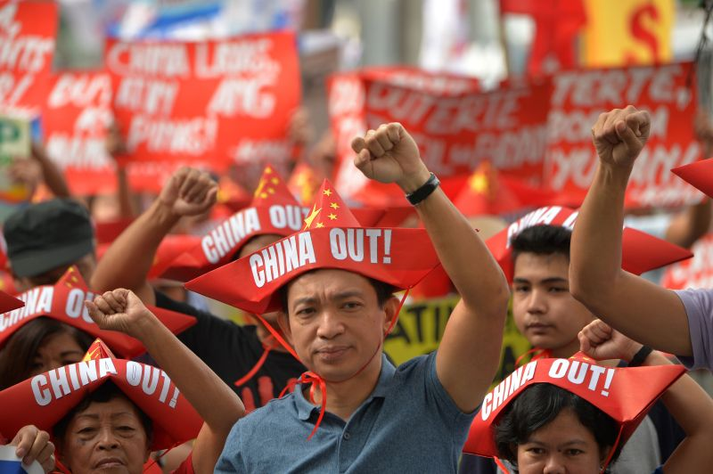 Filipinos protest China in the South China Sea.