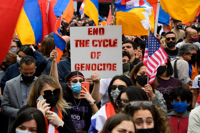 People protest outside of the Turkish consulate on the anniversary of the Armenian genocide in Beverly Hills, California, on April 24.
