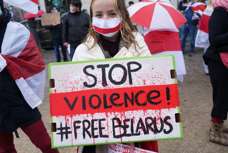 Belarus democracy protesters in Berlin