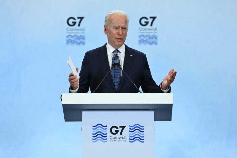 U.S. President Joe Biden takes part in a press conference on the final day of the G-7 summit at Cornwall Airport Newquay, near Newquay, United Kingdom, on June 13.