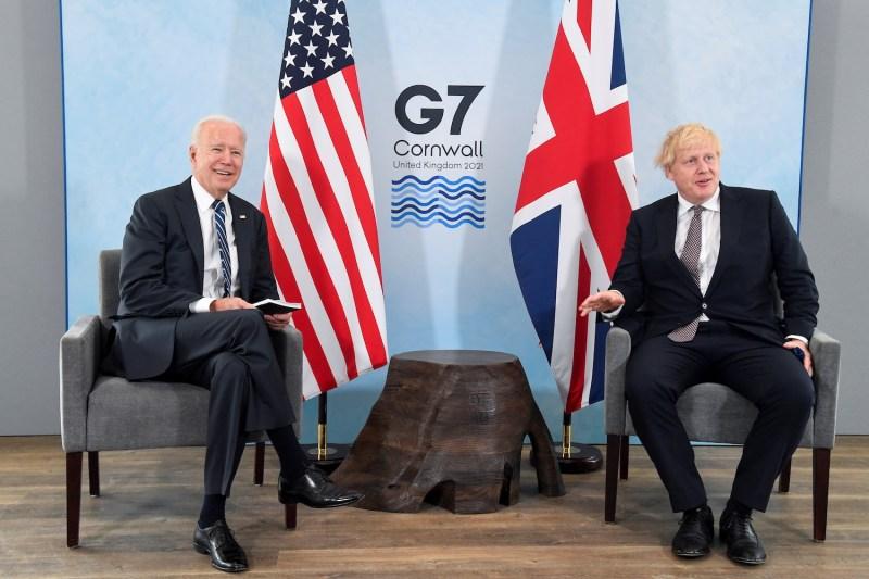 British Prime Minister Boris Johnson meets with U.S. President Joe Biden.