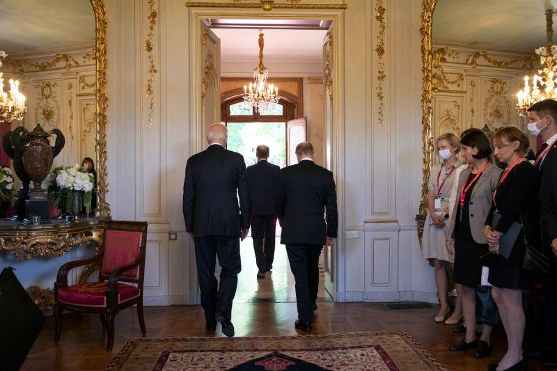 Swiss President Guy Parmelin (C) leads U.S. President Joe Biden (L) and Russian President Vladimir Putin to meet media during the U.S.-Russia summit at Villa La Grange on June 16, 2021 in Geneva, Switzerland. Biden is meeting his Russian counterpart, Putin, for the first time as president in Geneva, Switzerland.