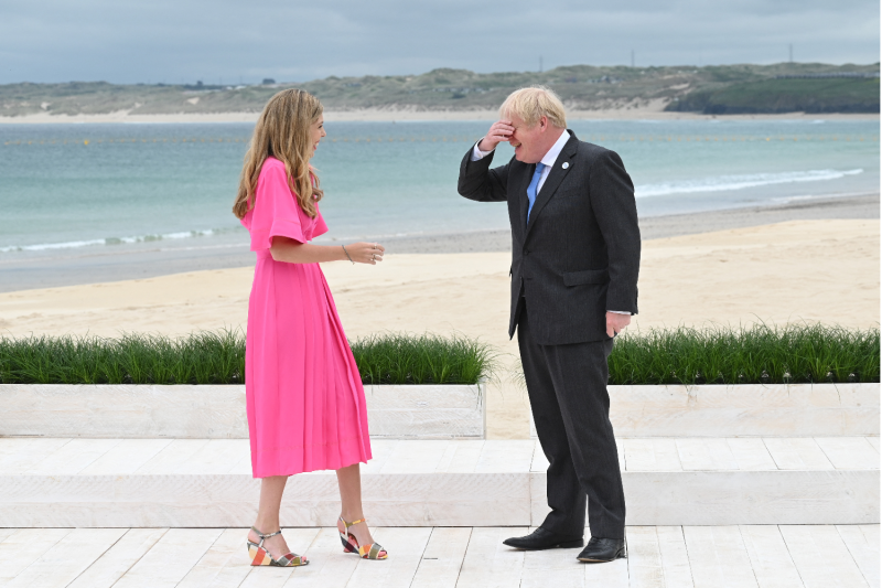 British Prime Minister Boris Johnson and his wife at the G-7 summit