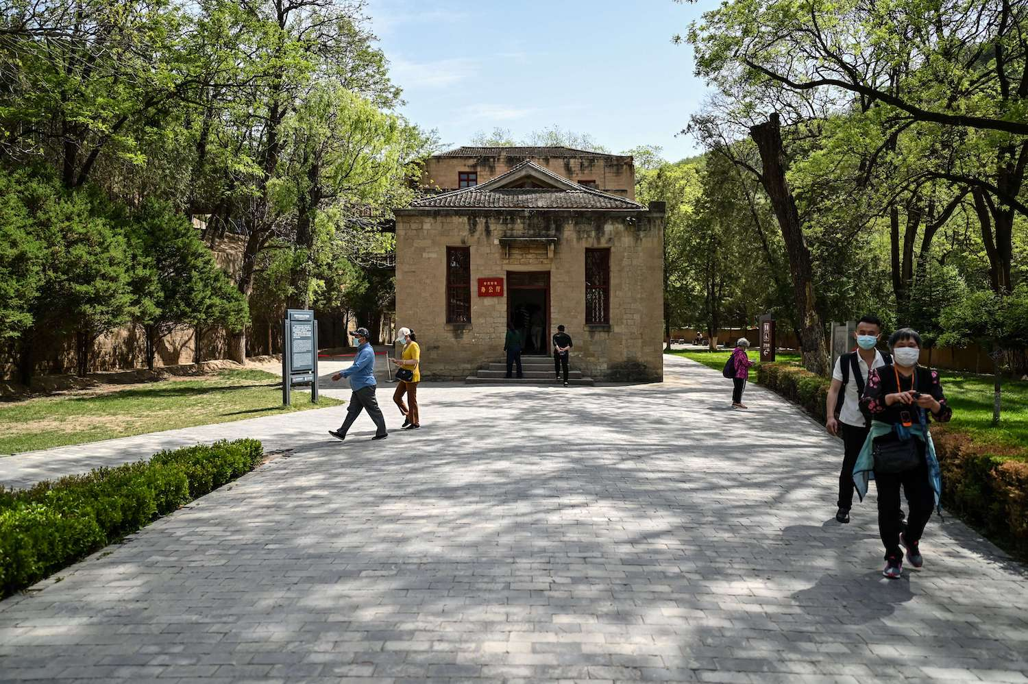 Tourists visit the Yangjialing Revolutionary Site in Yan'an, the headquarters of the Chinese Communist Party from 1936 to 1947, in Shaanxi province on May 10.