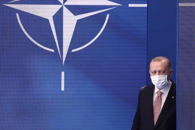 Turkish President Recep Tayyip Erdogan attends the NATO summit.