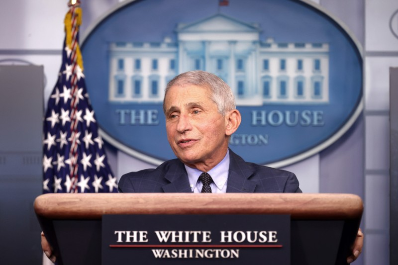 Anthony Fauci briefs the press on COVID-19.